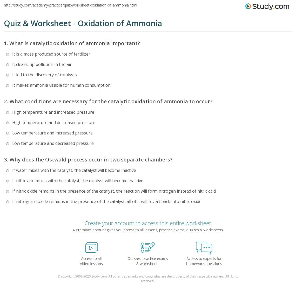 Quiz & Worksheet - Oxidation of Ammonia | Study.com