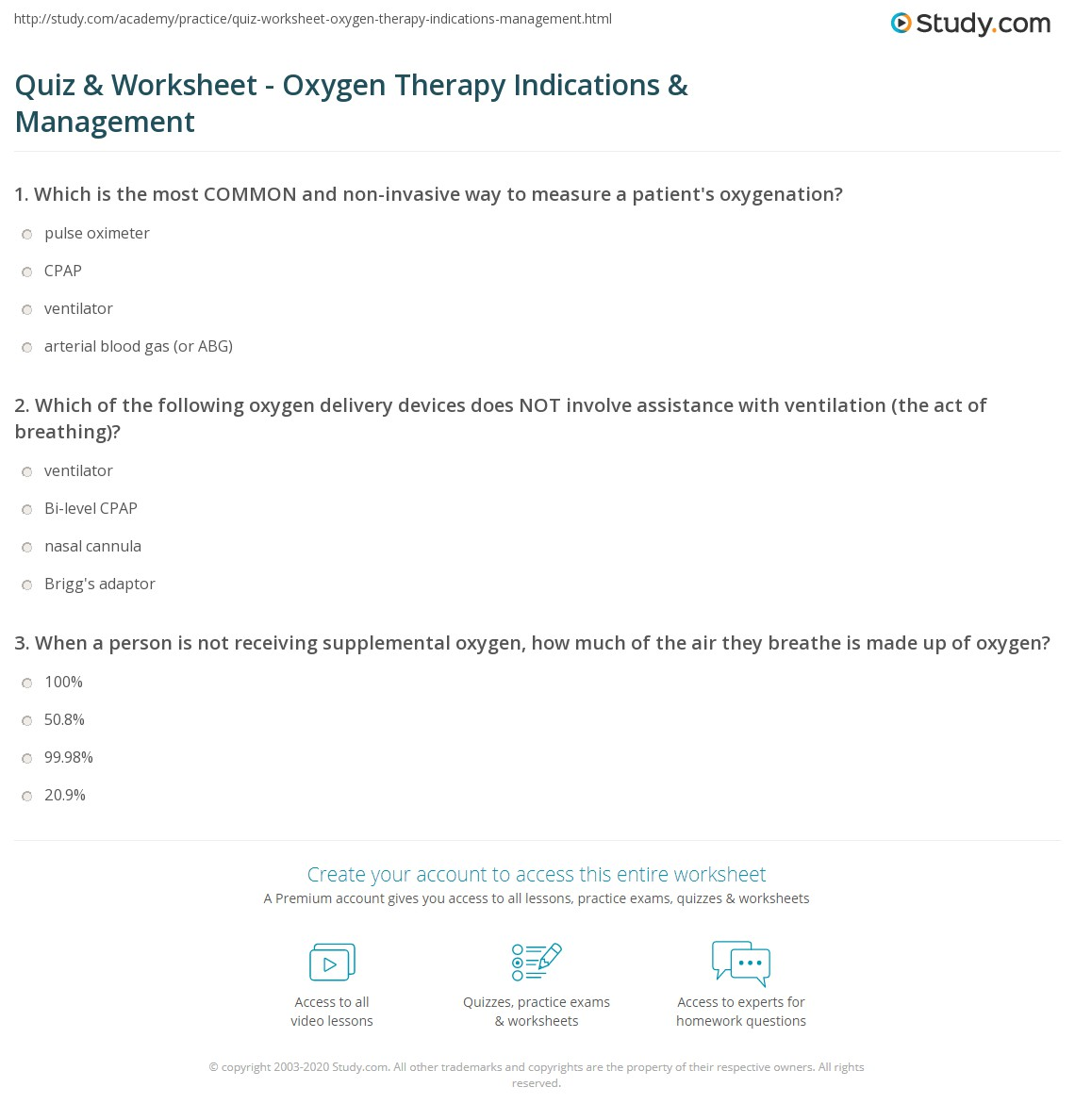 Quiz & Worksheet - Oxygen Therapy Indications & Management