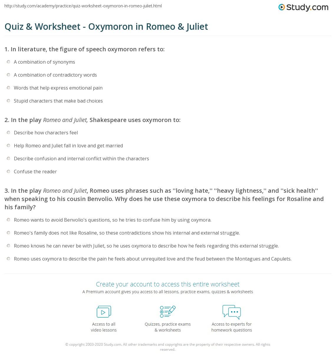 Quiz Worksheet Oxymoron In Romeo Juliet Study