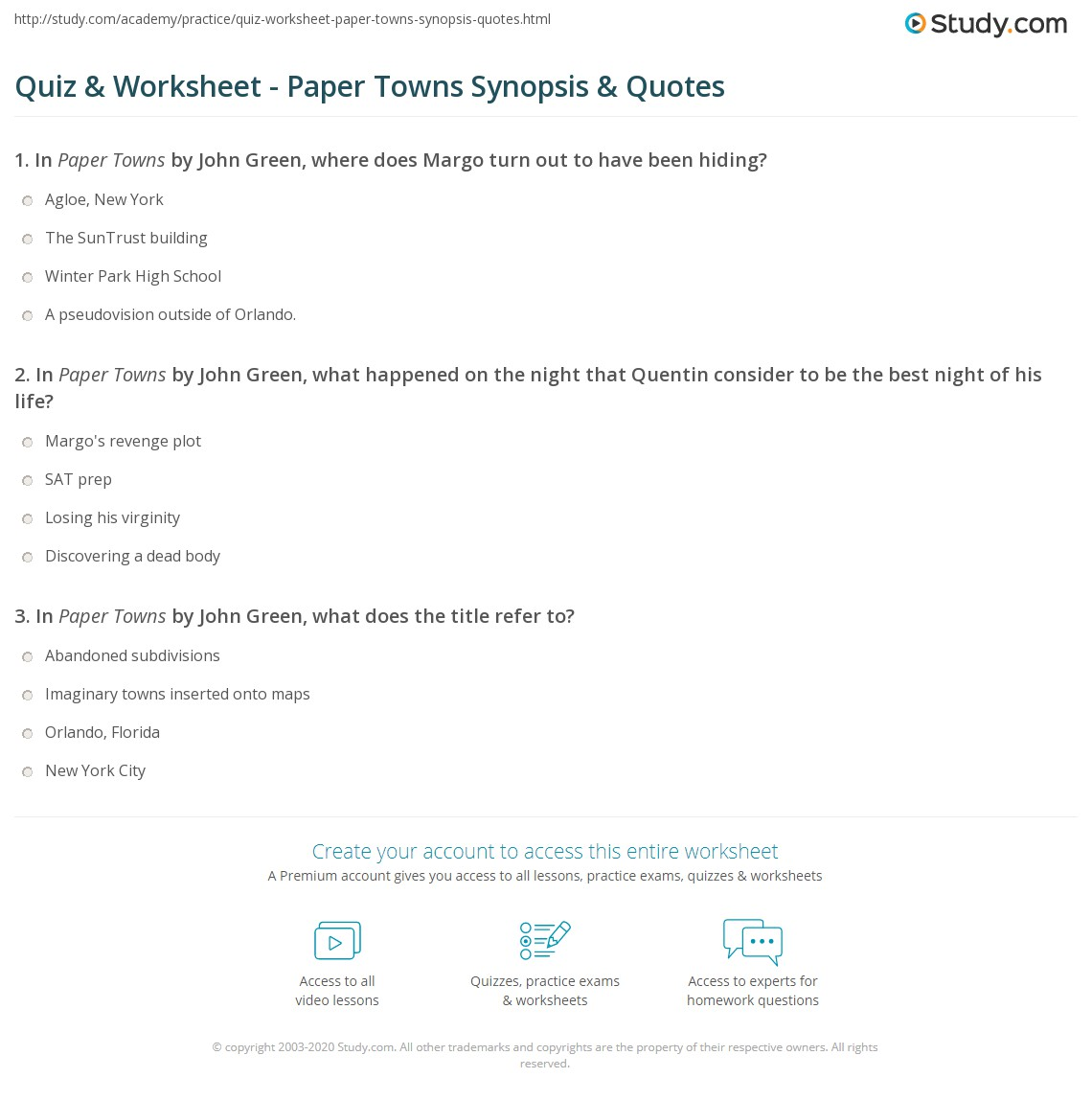 quiz worksheet paper towns synopsis quotes. Black Bedroom Furniture Sets. Home Design Ideas