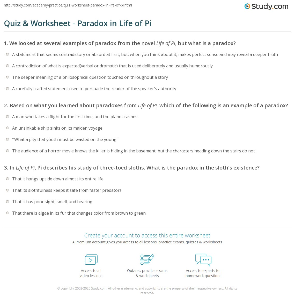 Quiz Worksheet Paradox In Life Of Pi Study