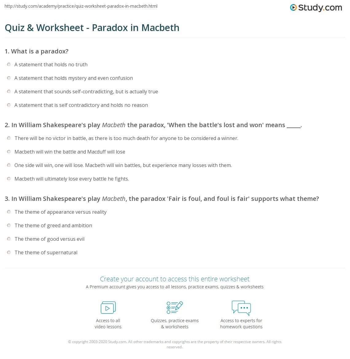 Quiz Worksheet Paradox In Macbeth Study