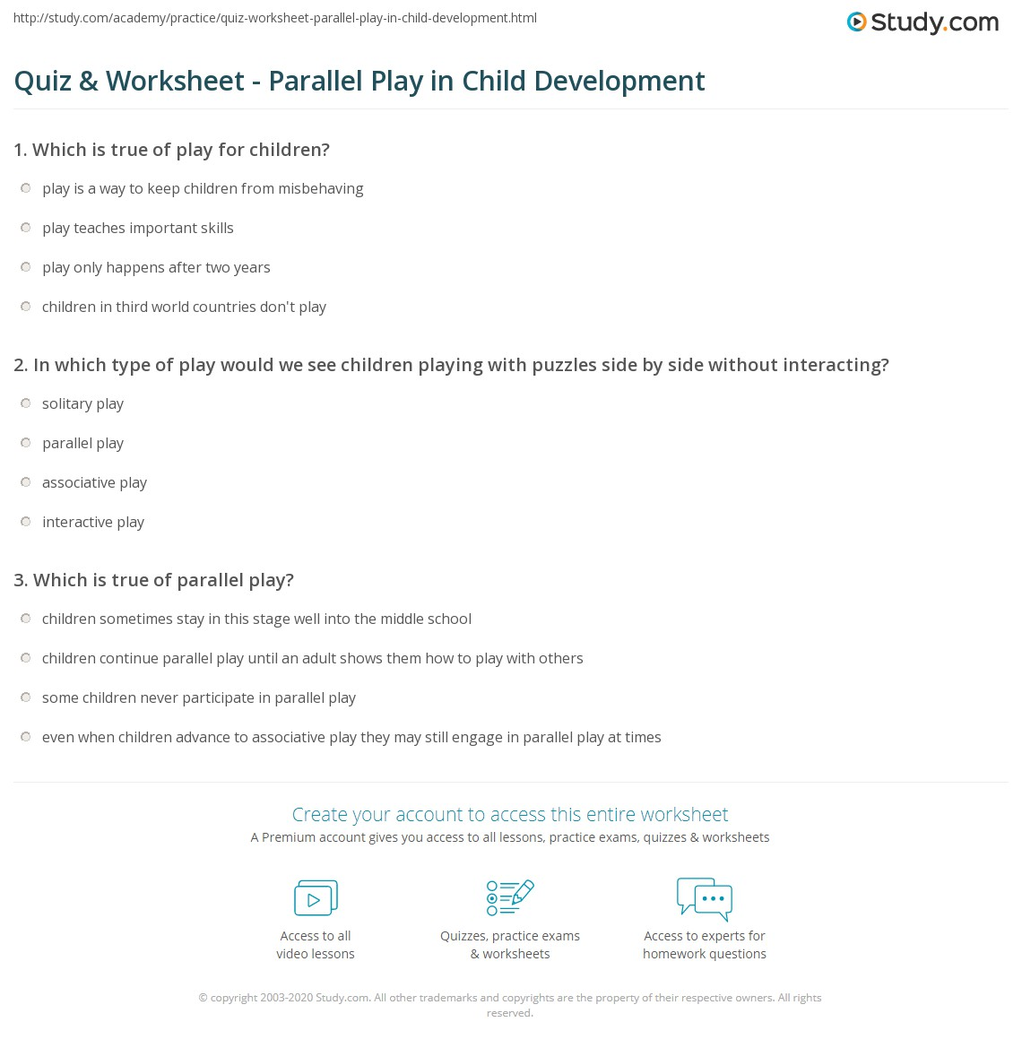 Quiz worksheet parallel play in child development study print parallel play in child development definition examples worksheet 1betcityfo Image collections