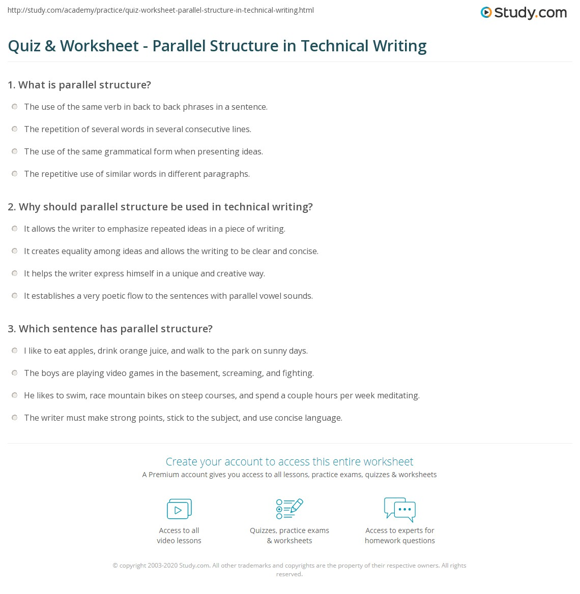 Quiz Worksheet Parallel Structure in Technical Writing – Sentence Structure Practice Worksheets