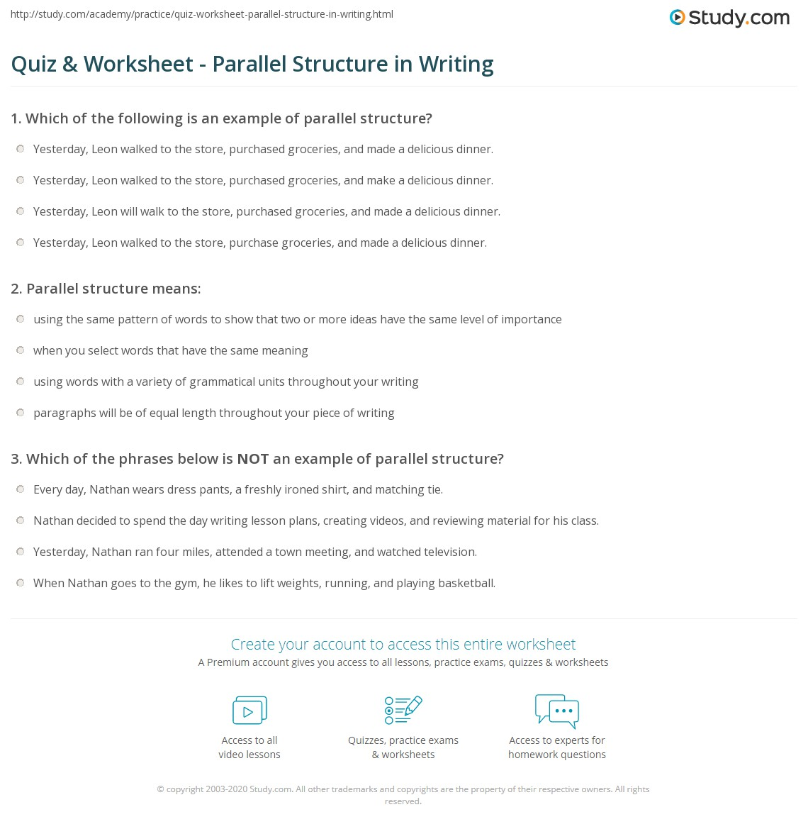 Worksheets Parallel Structure Worksheet quiz worksheet parallel structure in writing study com print what is definition examples worksheet