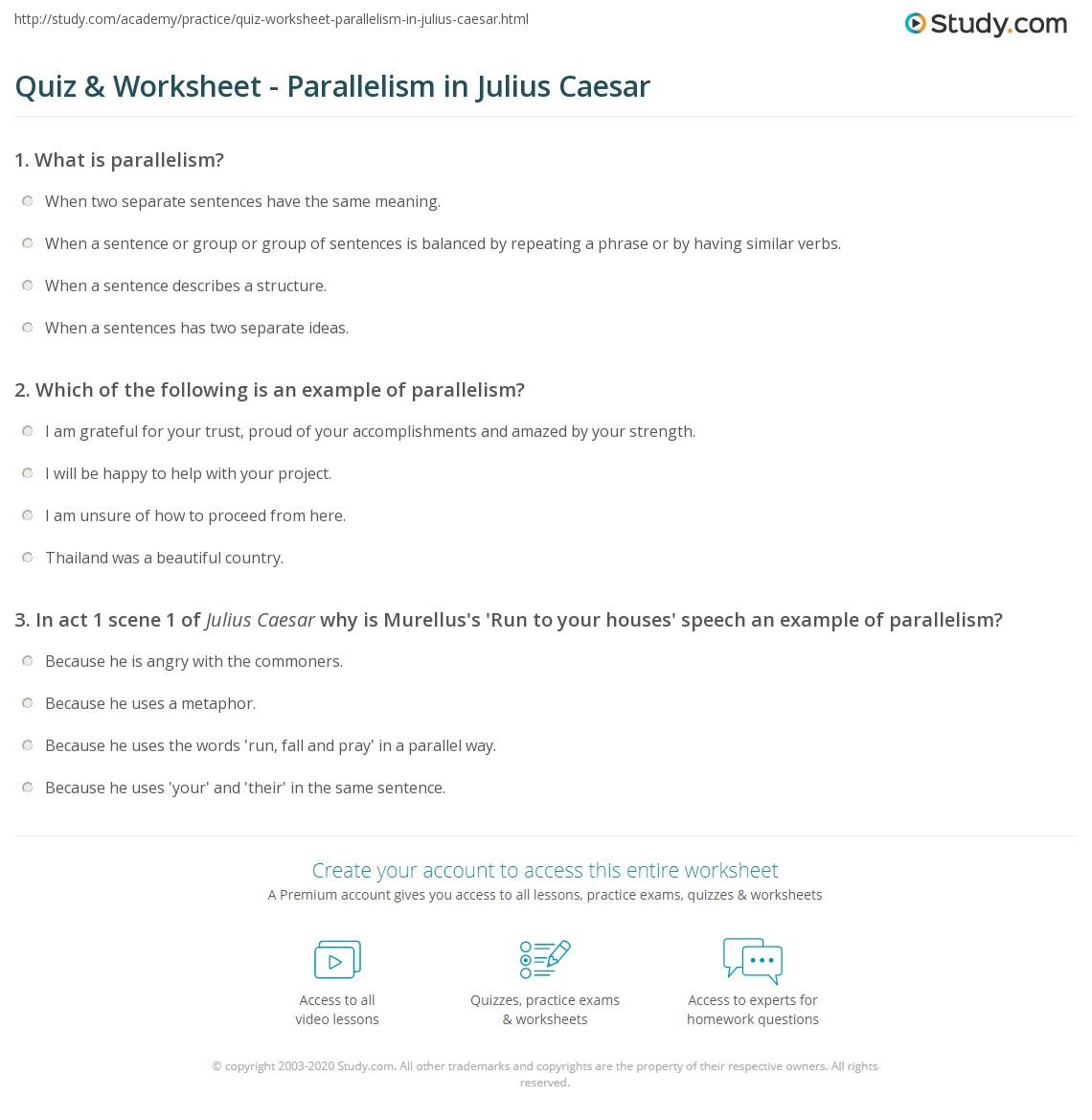 Quiz & Worksheet - Parallelism in Julius Caesar | Study.com