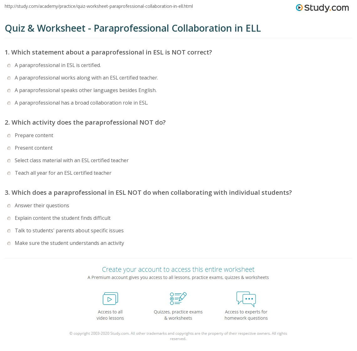 Quiz Worksheet Paraprofessional Collaboration In Ell Study