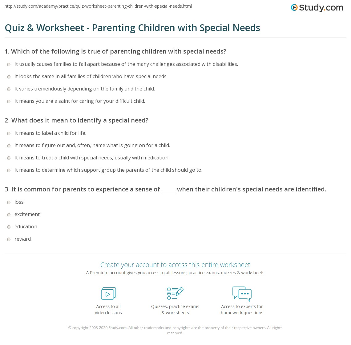 graphic about Printable Worksheets for Special Needs Students named Quiz Worksheet - Parenting Kids with Exceptional Necessities