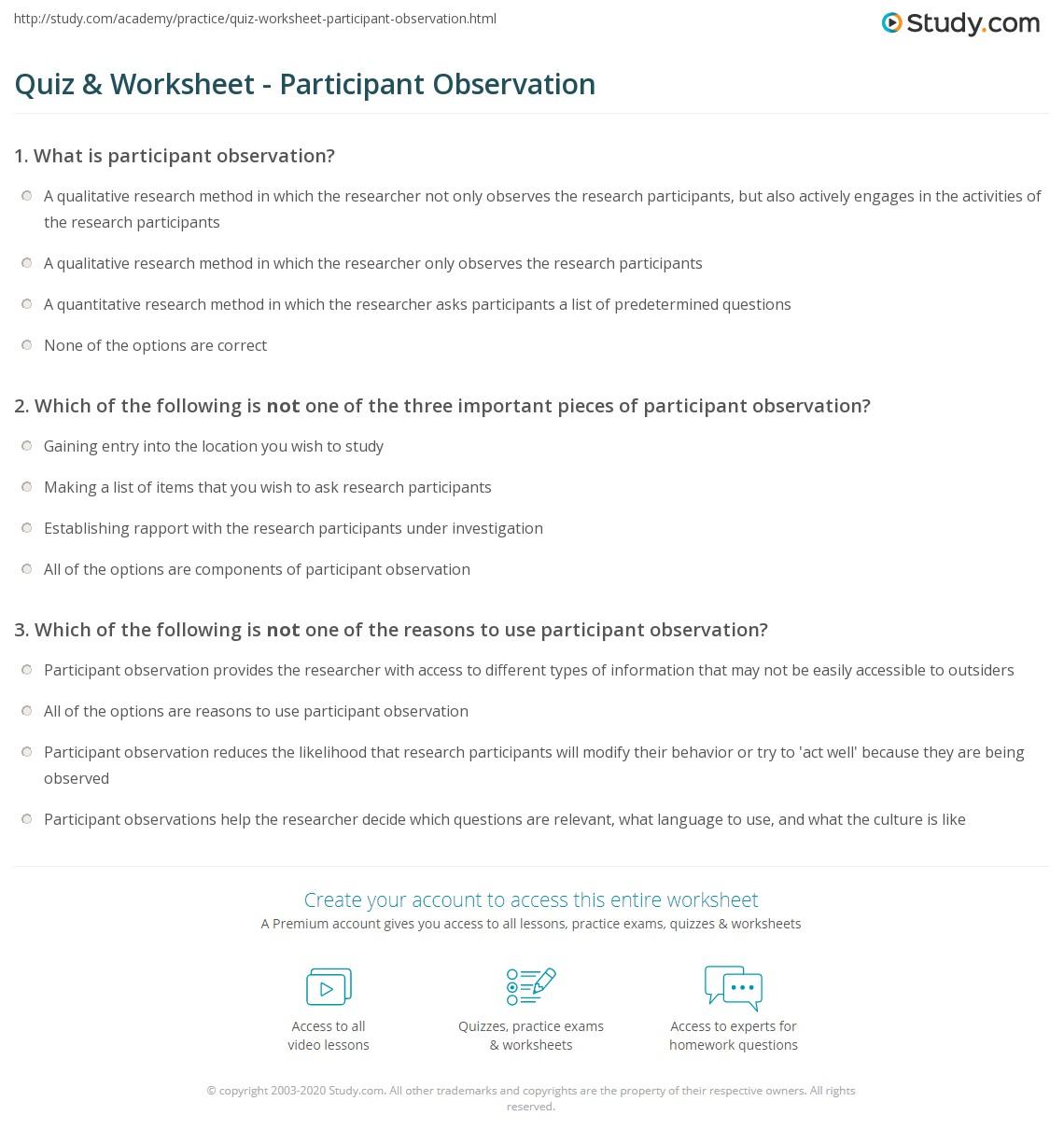 worksheet Observation Worksheet quiz worksheet participant observation study com print definition and examples worksheet