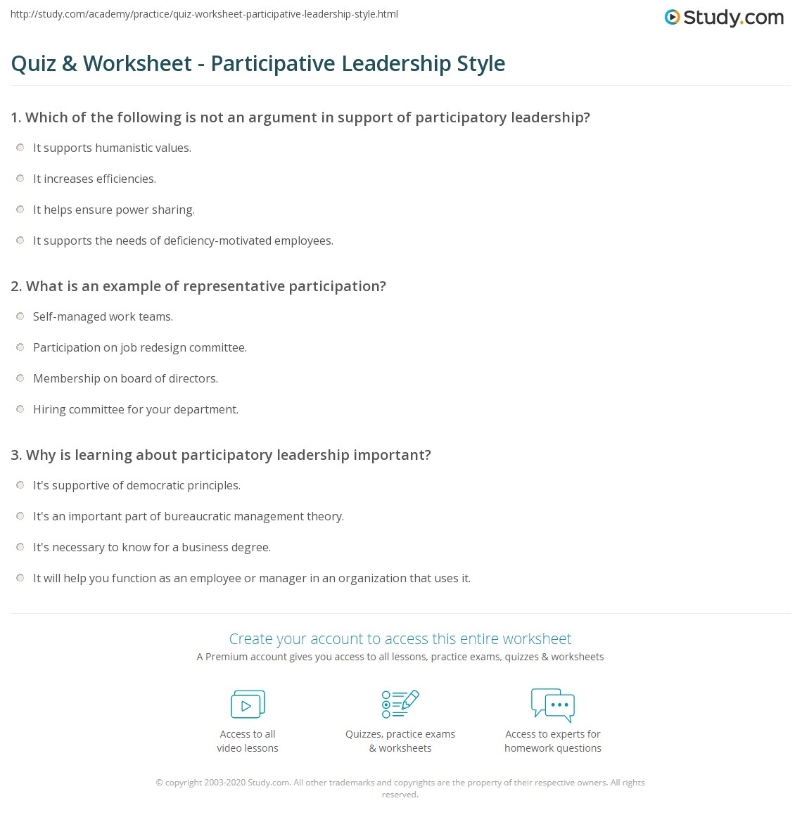 print participative leadership style definition theory examples worksheet