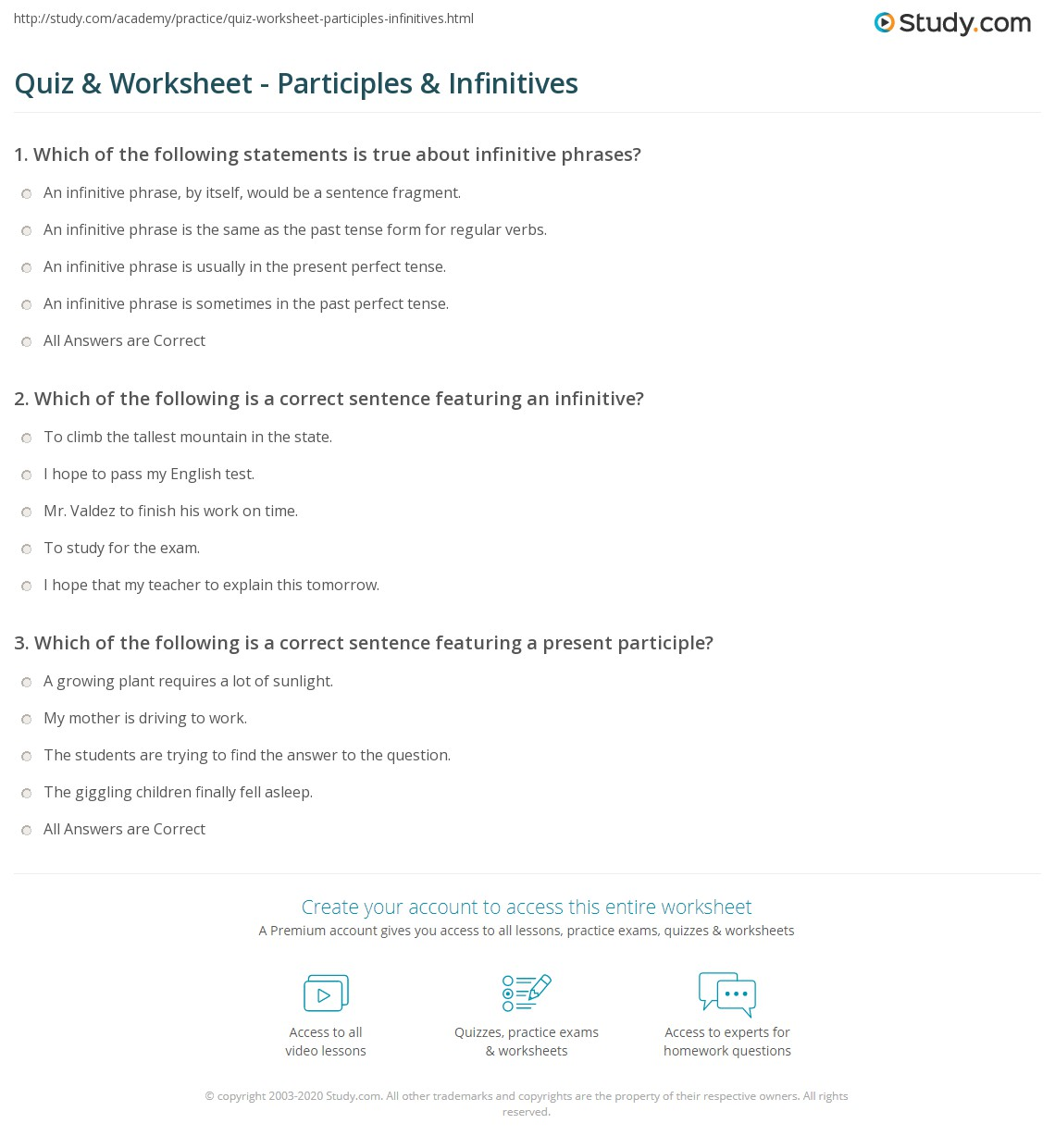 Quiz Worksheet Participles Infinitives Study