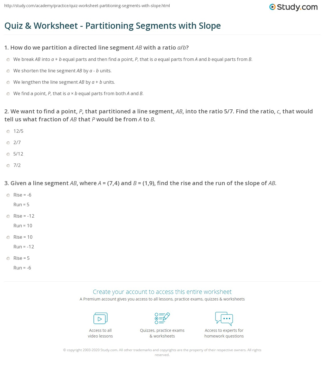 quiz worksheet partitioning segments with slope. Black Bedroom Furniture Sets. Home Design Ideas