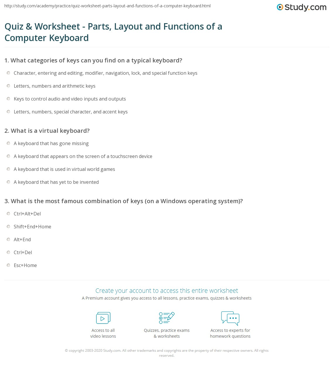 Worksheets Keyboard Worksheet quiz worksheet parts layout and functions of a computer print what is keyboard worksheet