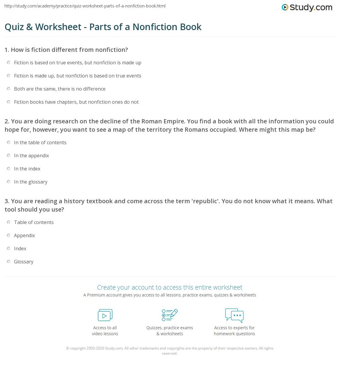 Quiz Worksheet Parts of a Nonfiction Book – Parts of a Book Worksheet