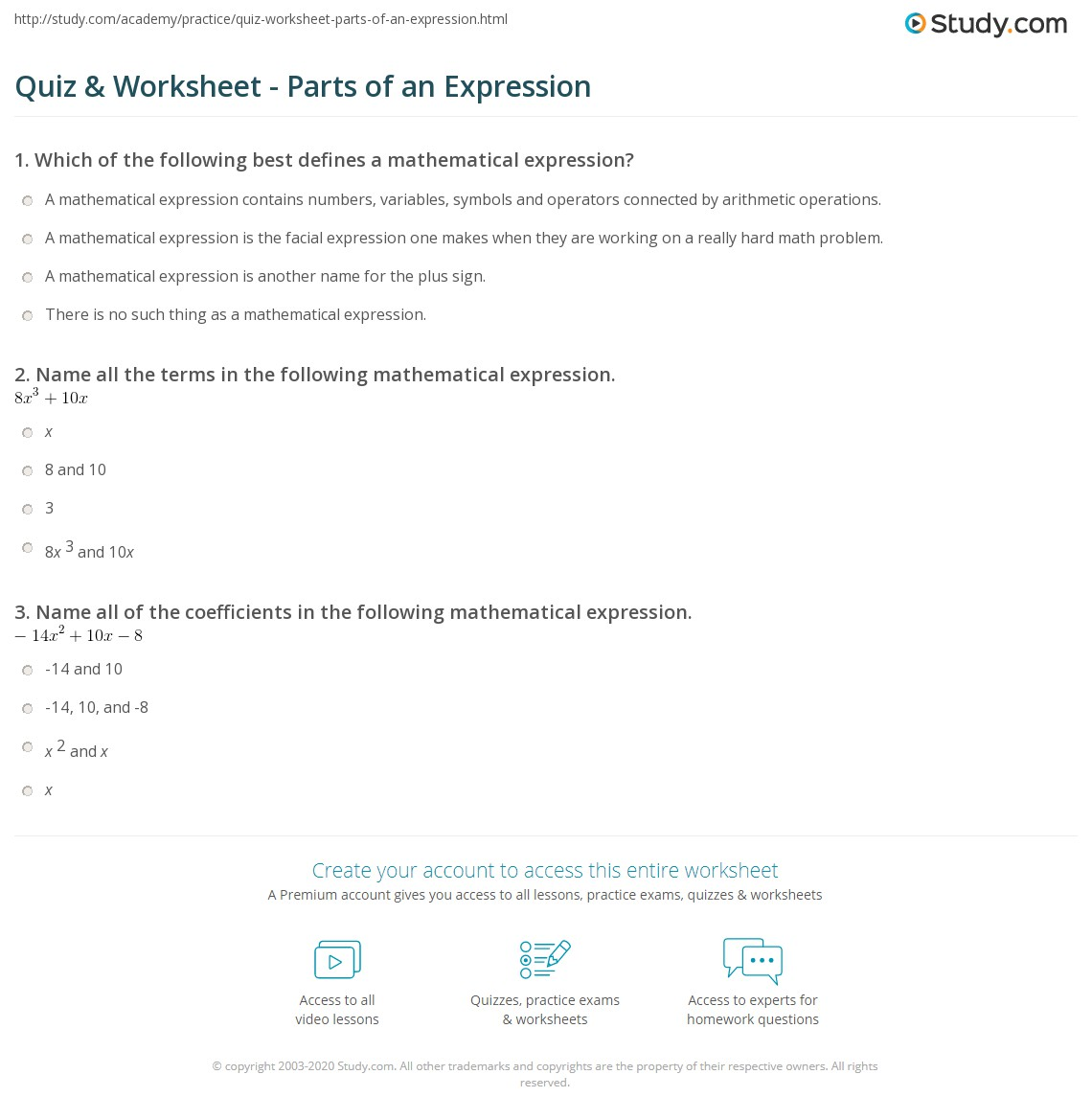 worksheet Variables And Expressions Worksheets quiz worksheet parts of an expression study com print terms factors coefficients worksheet
