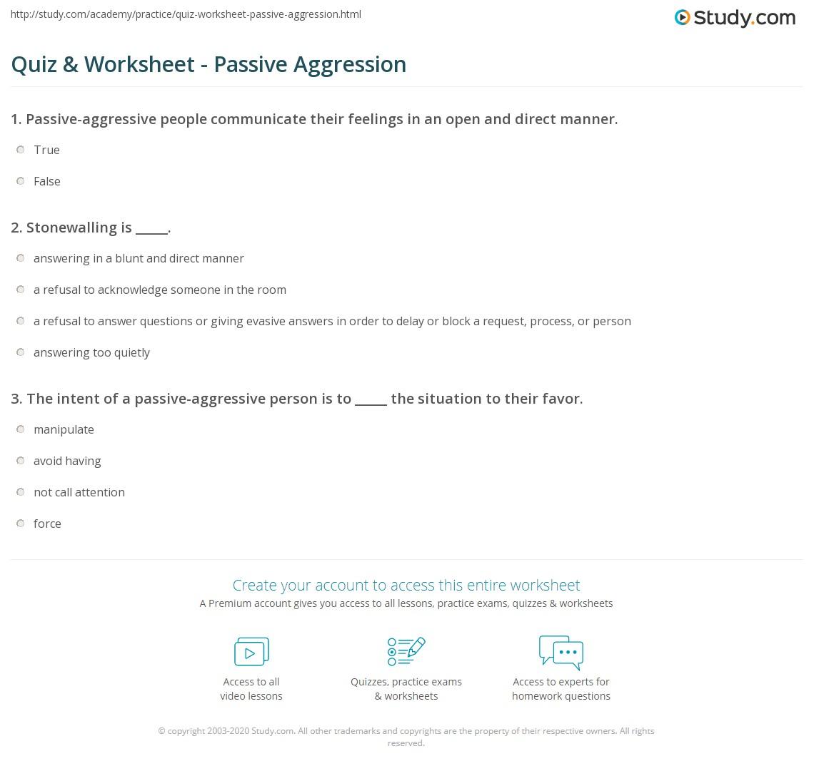 quiz & worksheet - passive aggression | study