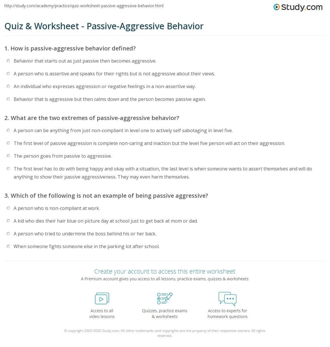 Worksheets Assertive Communication Worksheet quiz worksheet passive aggressive behavior study com print what is worksheet
