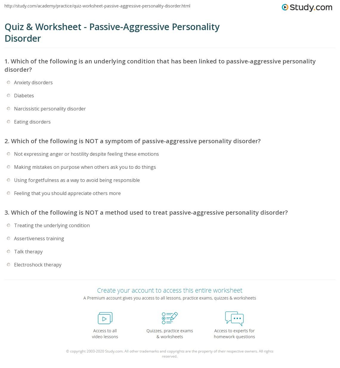Quiz Worksheet Passive Aggressive Personality Disorder Study