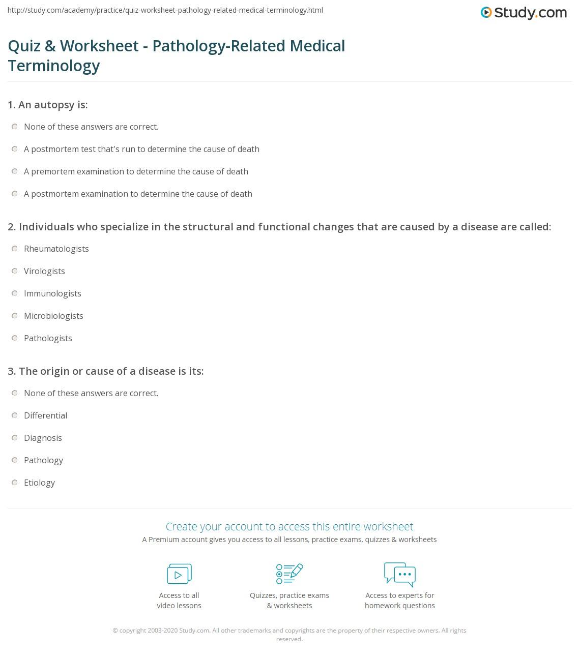 quiz worksheet pathology related medical terminology com related medical terminology worksheet