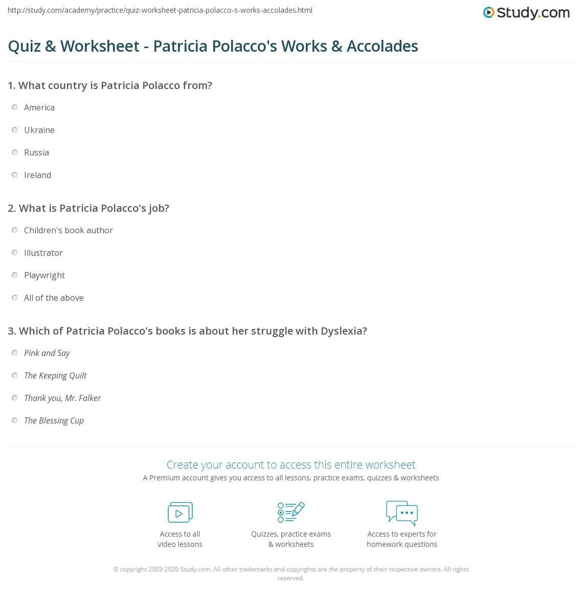 Quiz Worksheet Patricia Polacco S Works Accolades