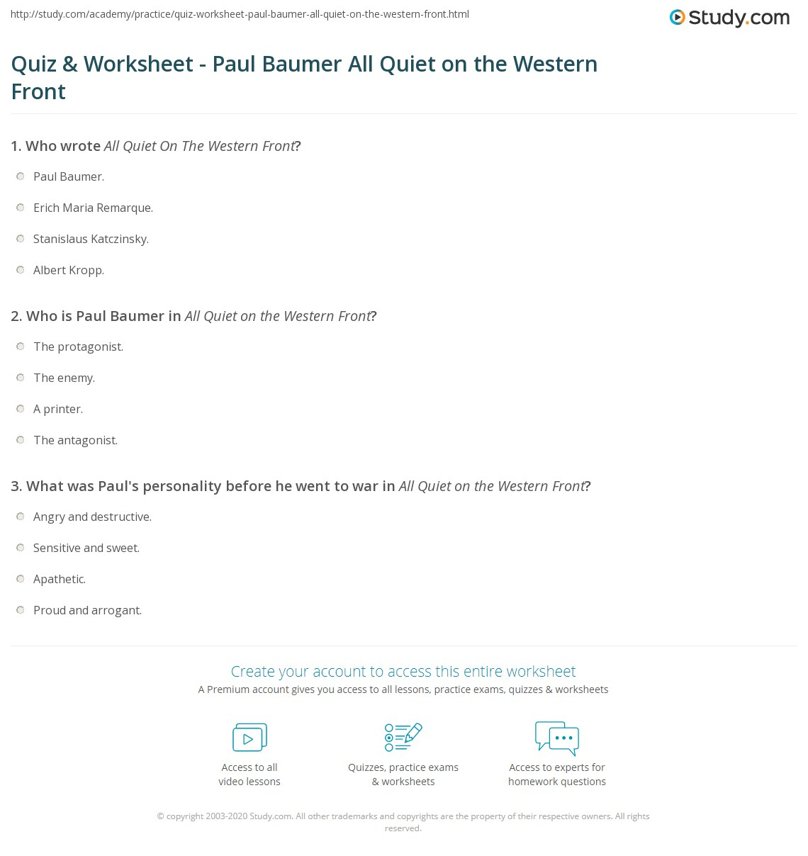 a study of paul baumer in all quiet on the western front essay Literature: all quiet on the western front term papers, essays, research   during his time in the war, the main character, paul baumer, changes from an.