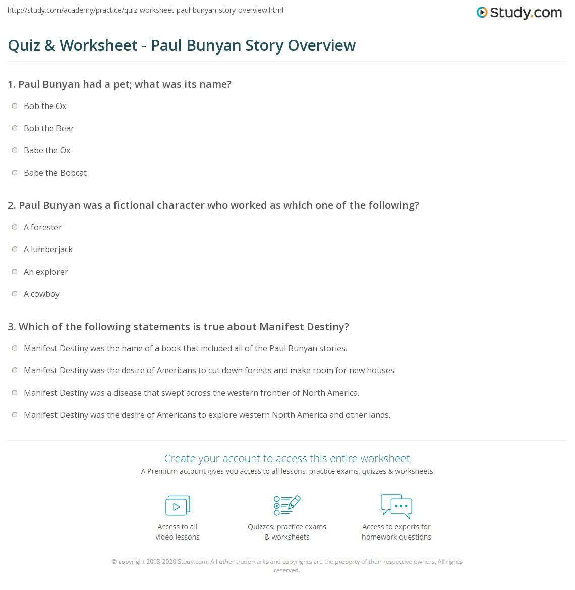 Paul Bunyan Worksheets - Stay At Hand