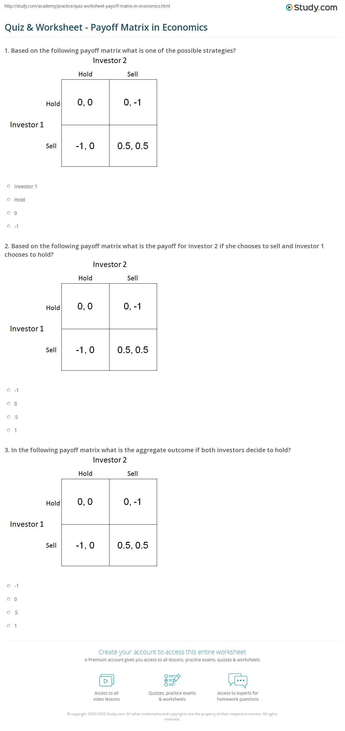Quiz Worksheet Payoff Matrix in Economics – Matrix Worksheets