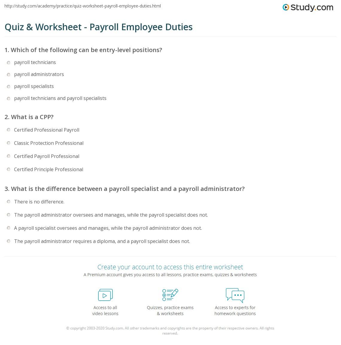 print payroll staff roles responsibilities worksheet