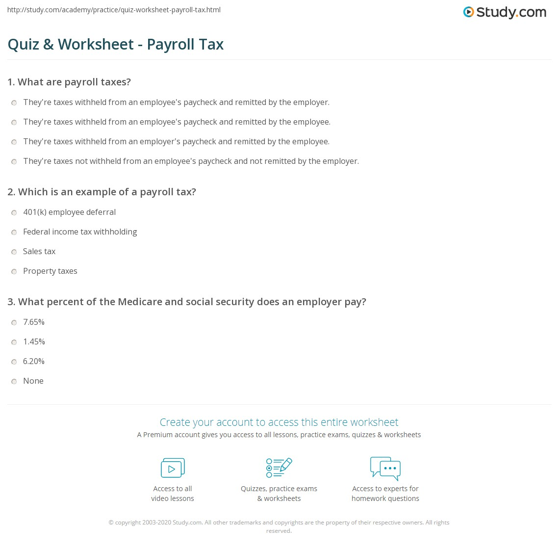 Quiz Worksheet Payroll Tax Study