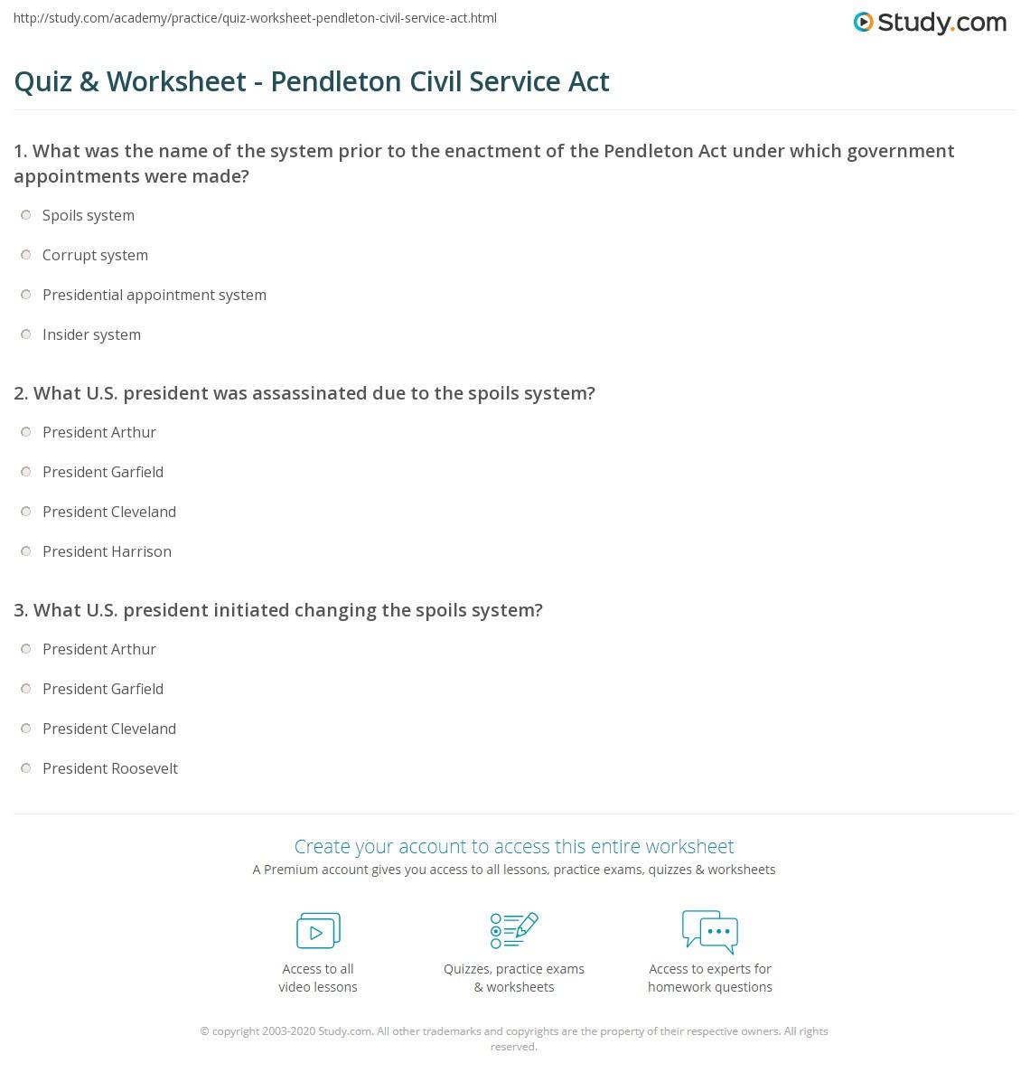 quiz worksheet pendleton civil service act study com print pendleton civil service act definition summary worksheet