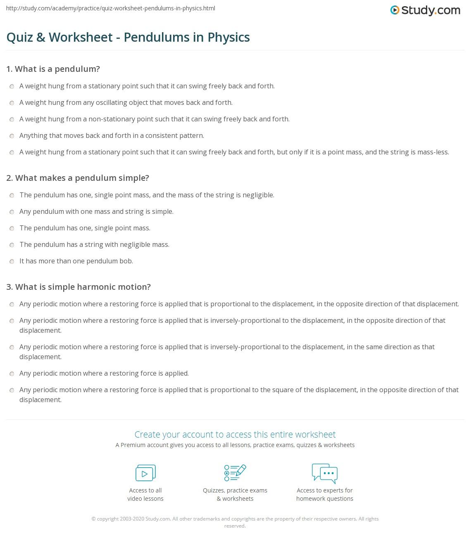 Quiz Worksheet Pendulums in Physics – Physics Worksheet Answers