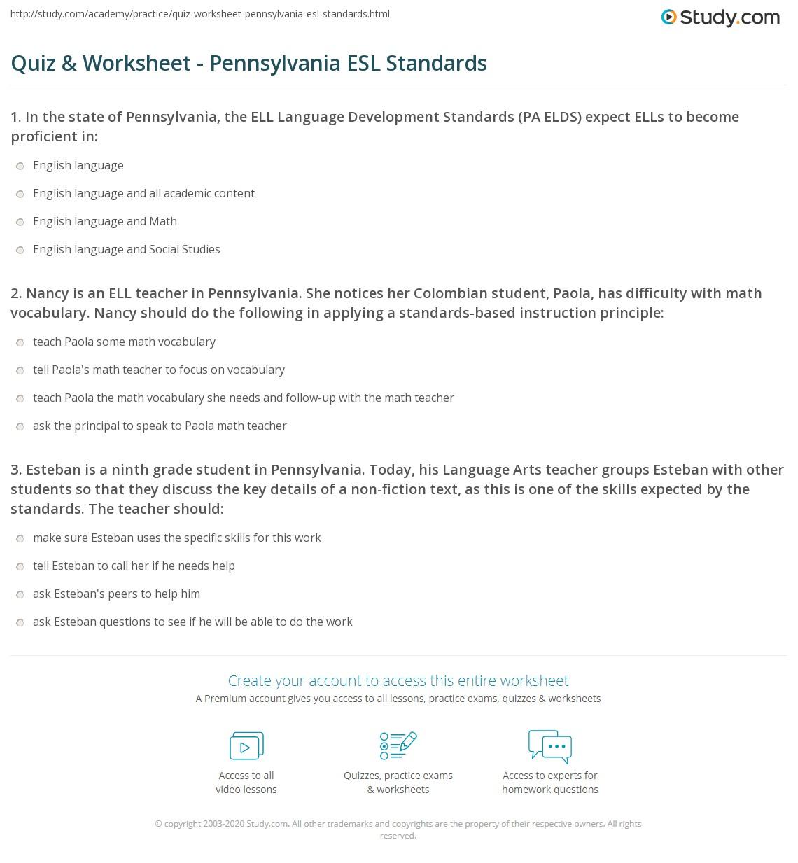 Quiz Worksheet Pennsylvania Esl Standards Study
