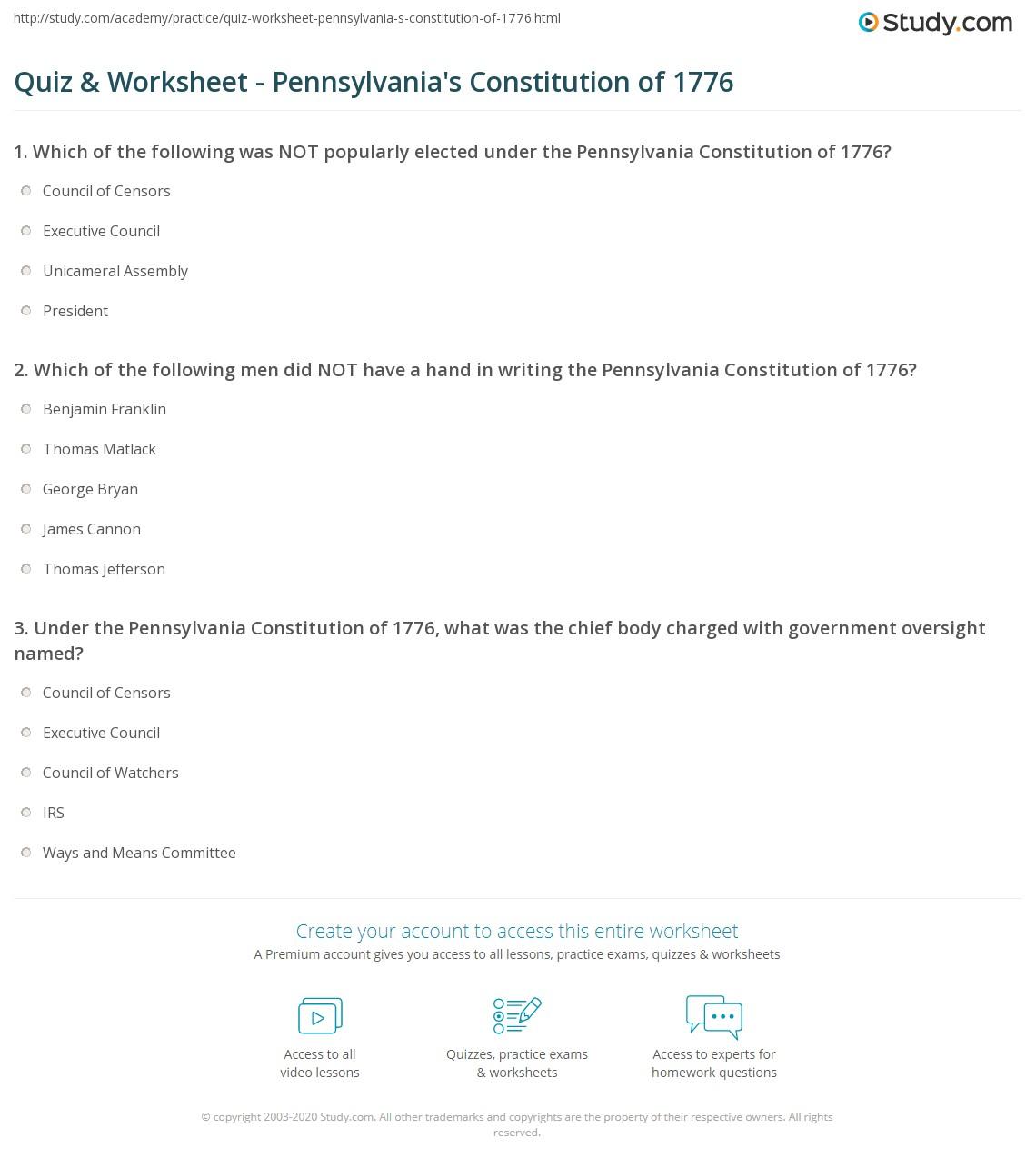 worksheet The Constitution Worksheet Answers quiz worksheet pennsylvanias constitution of 1776 study com print pennsylvania state worksheet