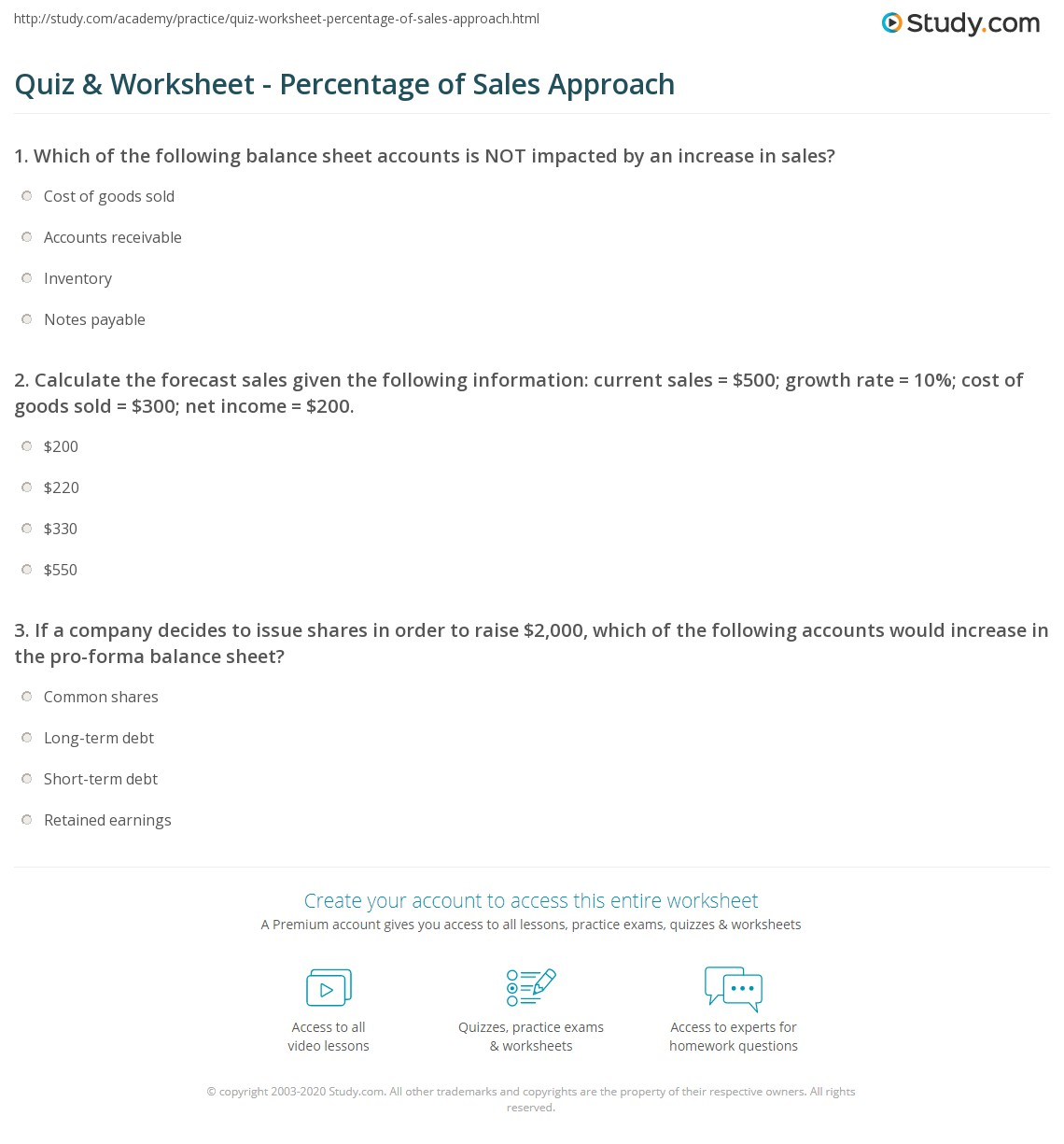 quiz worksheet percentage of sales approach. Black Bedroom Furniture Sets. Home Design Ideas