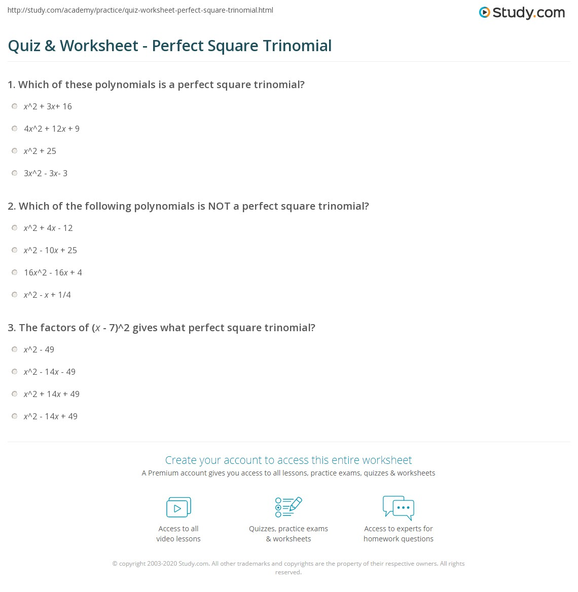 quiz worksheet perfect square trinomial. Black Bedroom Furniture Sets. Home Design Ideas