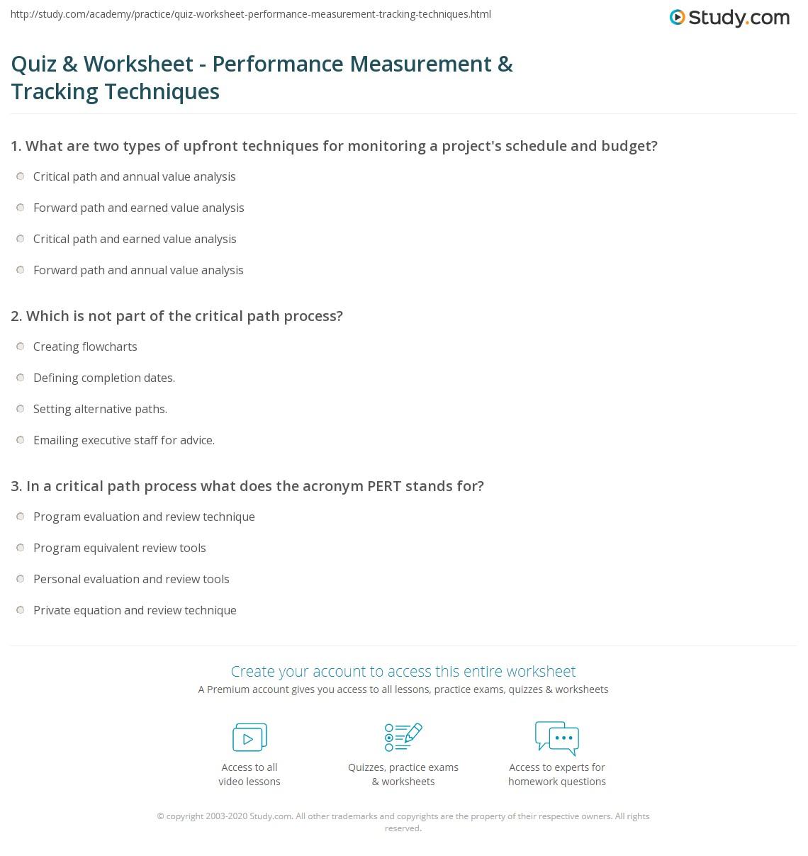 Quiz & Worksheet - Performance Measurement & Tracking
