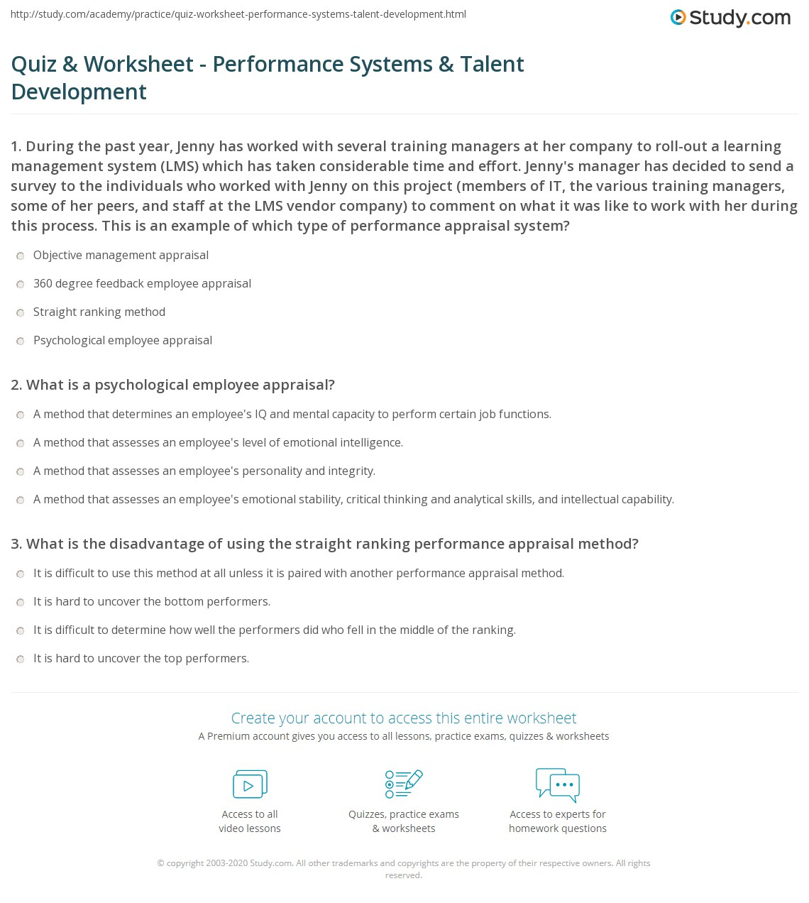 Quiz & Worksheet - Performance Systems & Talent Development ...