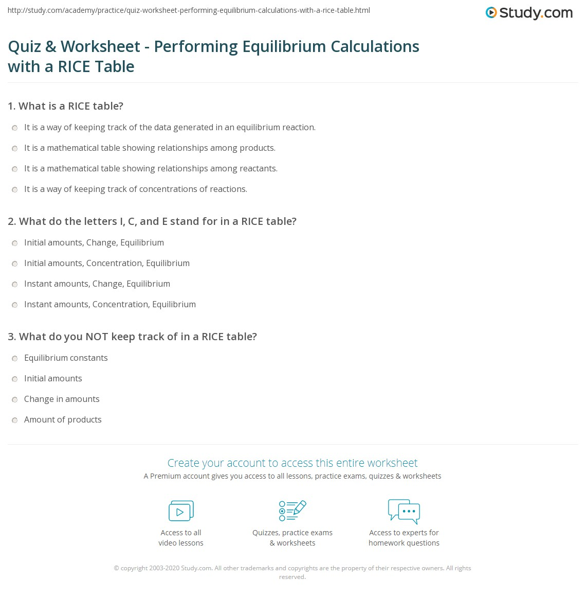 Quiz & Worksheet - Performing Equilibrium Calculations with a RICE ...