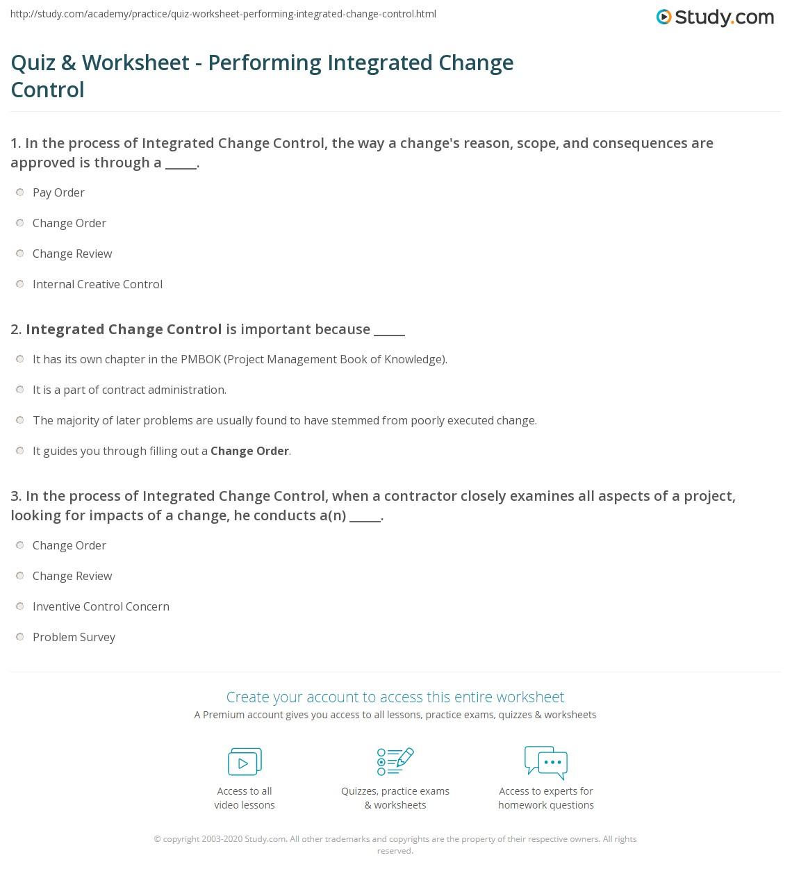 Quiz & Worksheet - Performing Integrated Change Control | Study.com