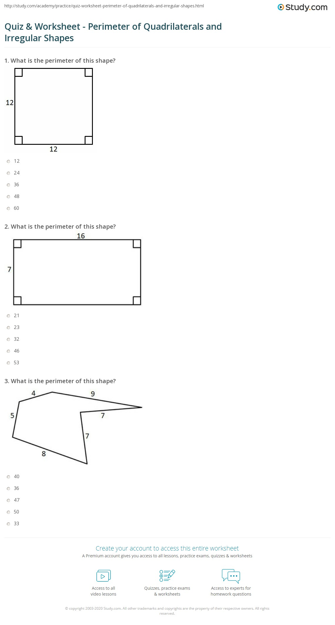 Worksheets Quadrilaterals Worksheet quiz worksheet perimeter of quadrilaterals and irregular shapes print or combined worksheet