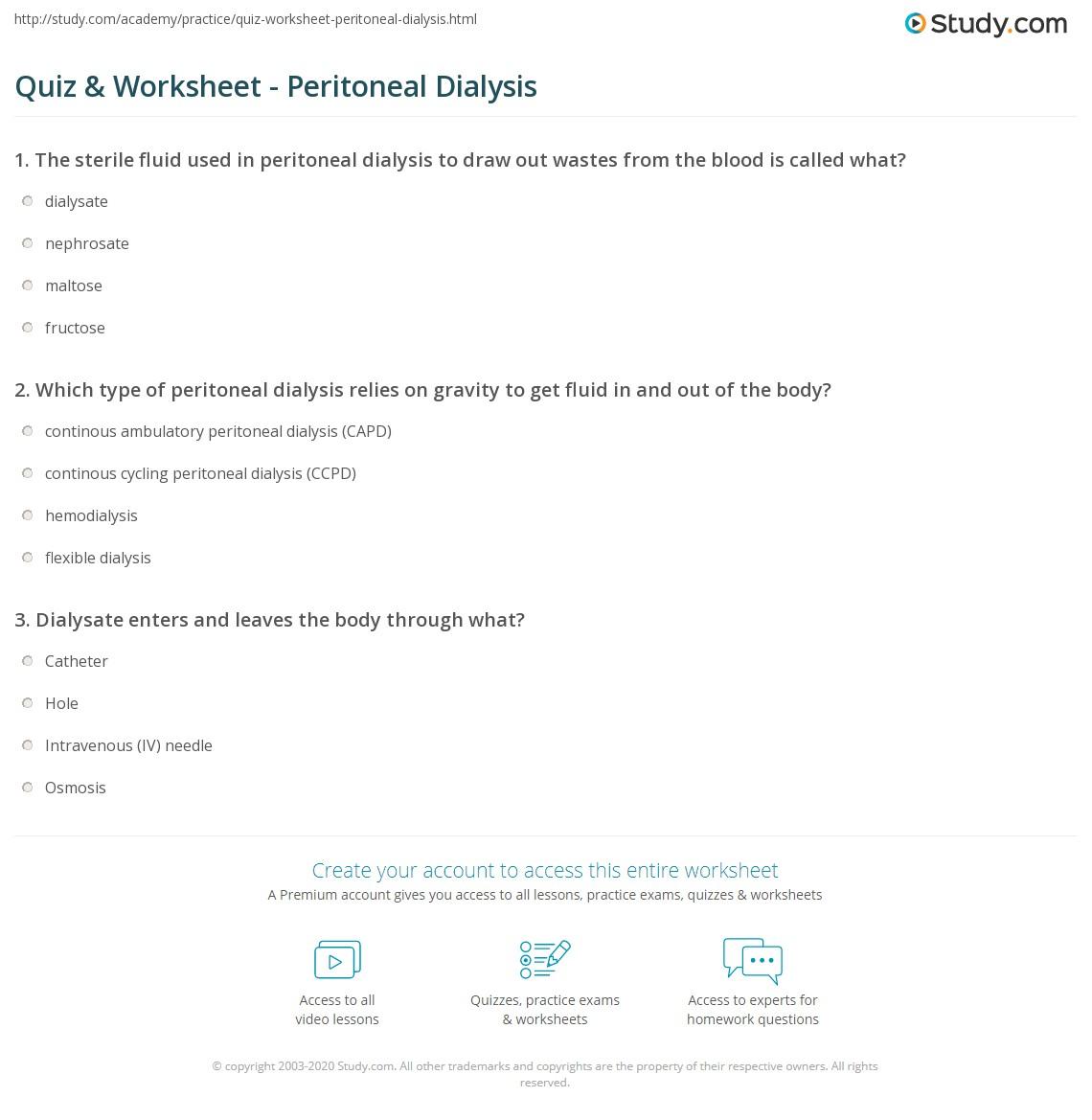 Quiz & Worksheet - Peritoneal Dialysis   Study com