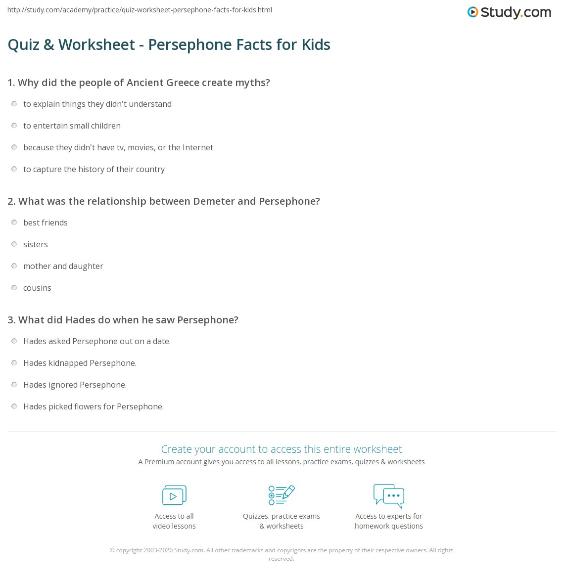 Quiz & Worksheet - Persephone Facts for Kids | Study.com