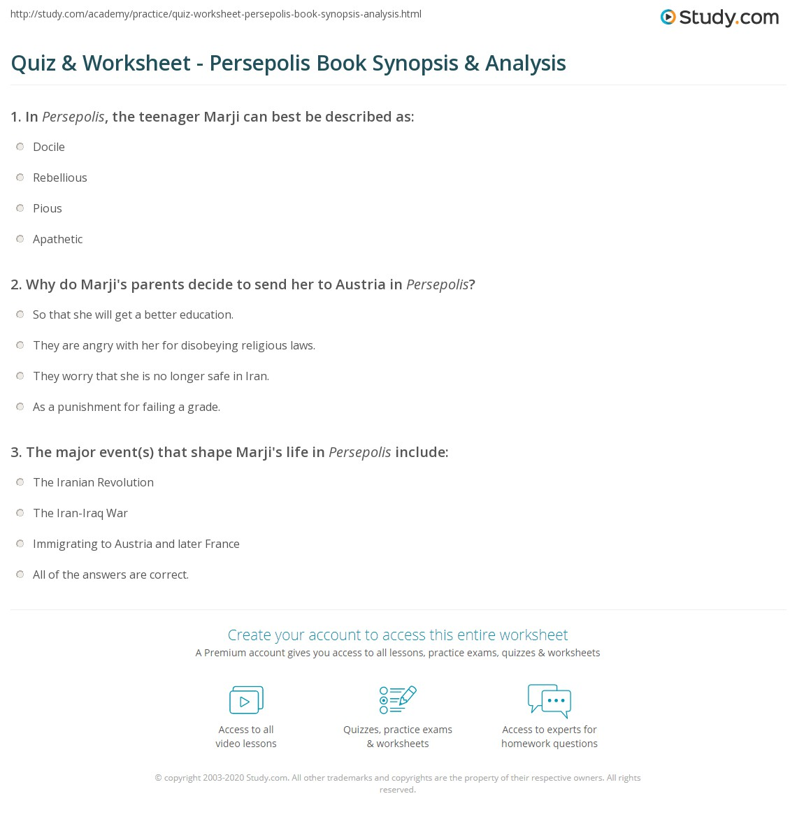 Quiz Worksheet Persepolis Book Synopsis Analysis Study Com