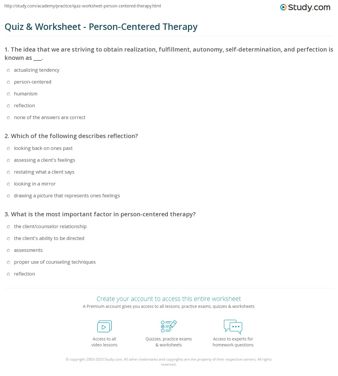 quiz worksheet person centered therapy. Black Bedroom Furniture Sets. Home Design Ideas