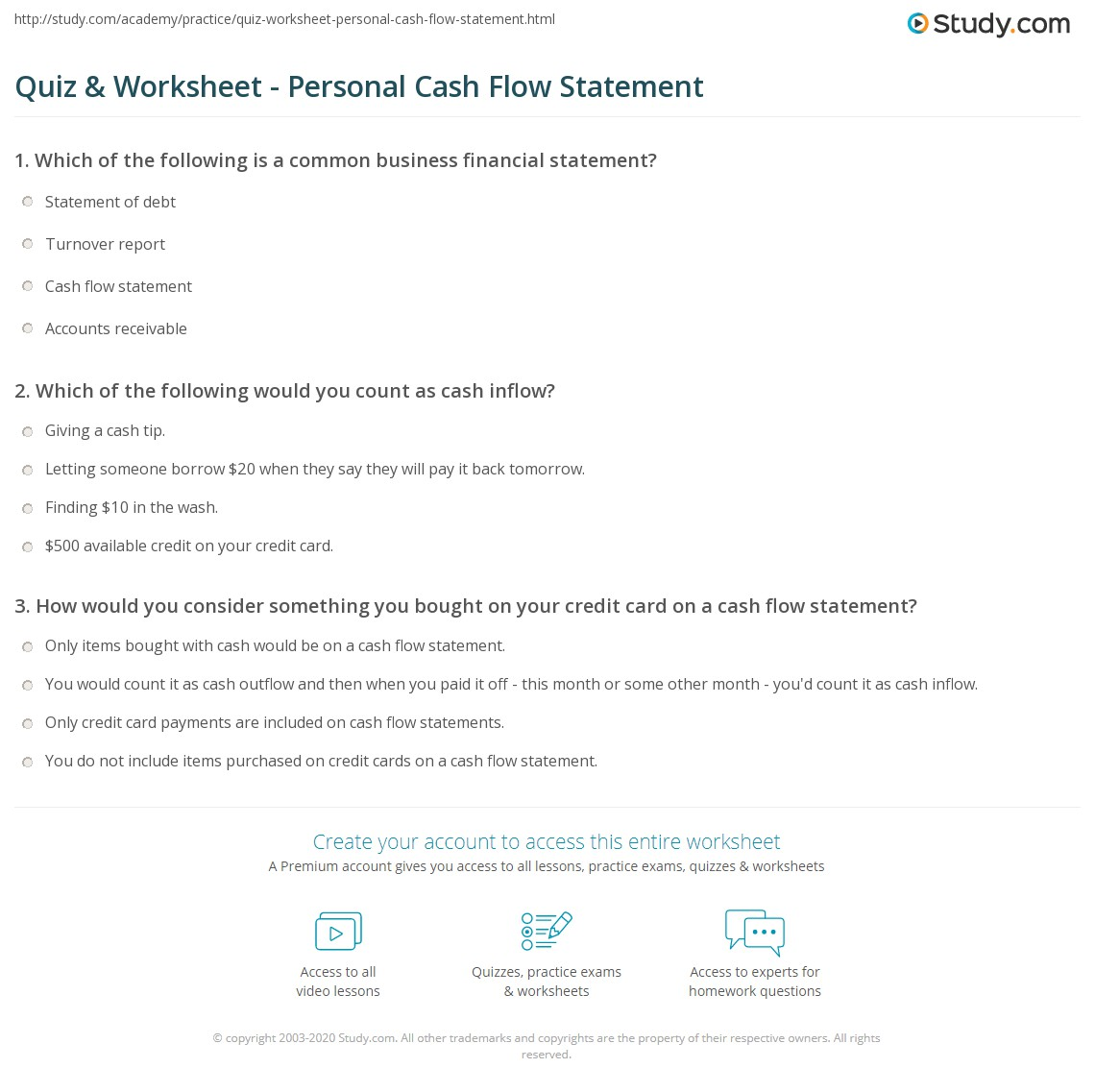 personal statement of cash flow