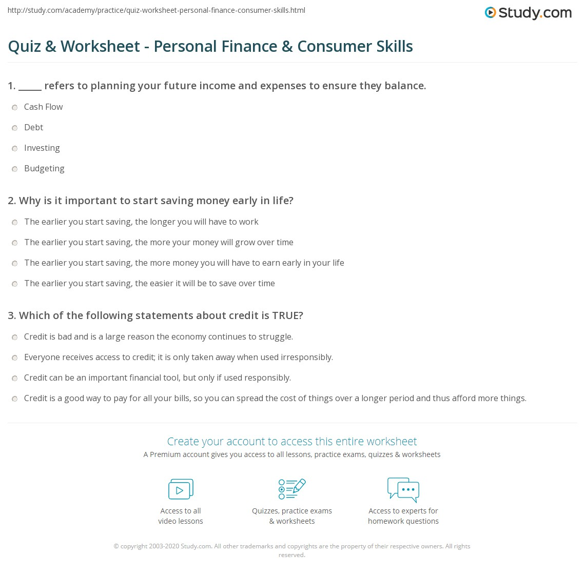 Quiz Worksheet Personal Finance Consumer Skills – Personal Financial Planning Worksheets