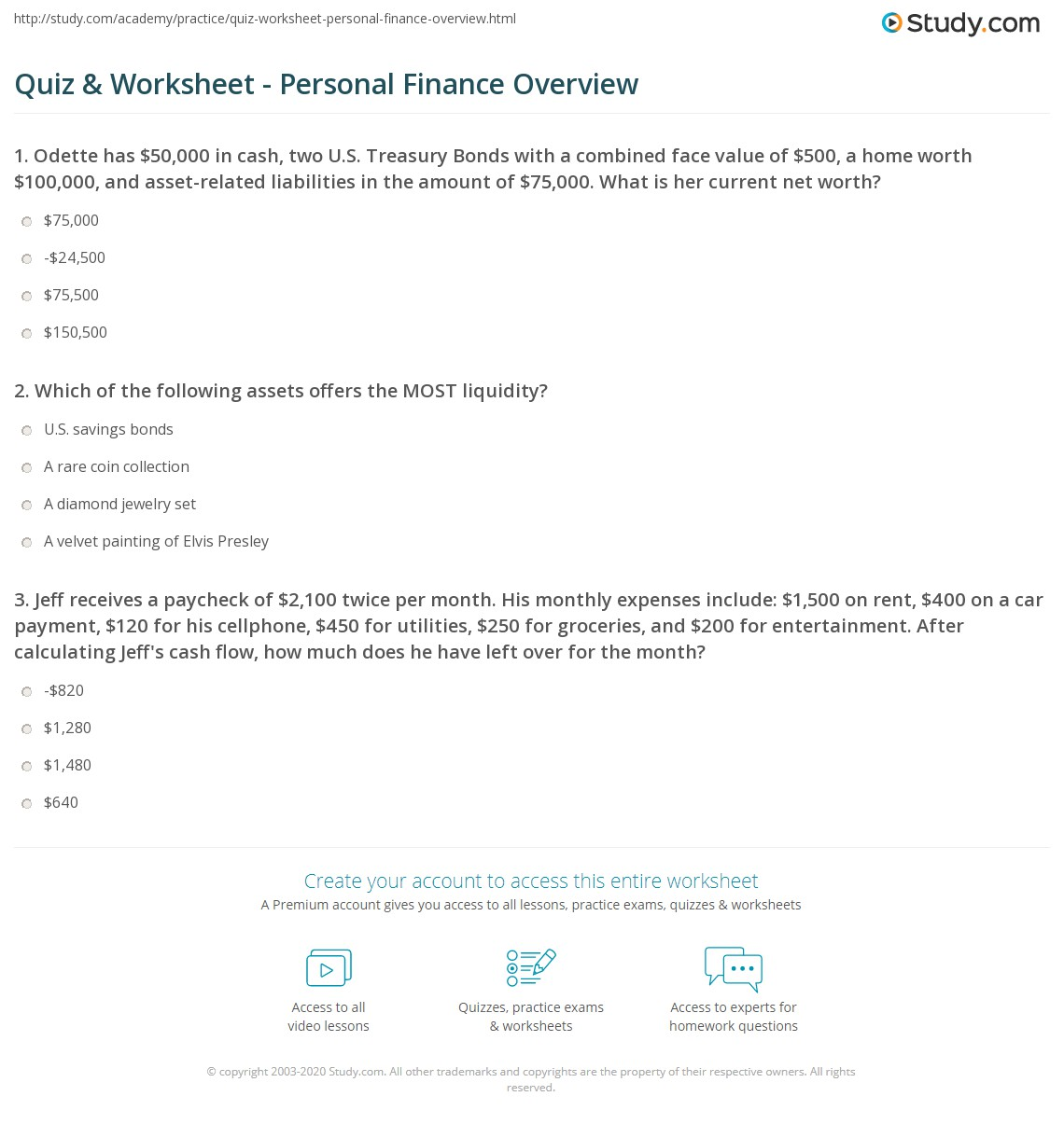 Worksheets How To Calculate Your Net Worth Worksheet quiz worksheet personal finance overview study com which of the following assets offers most liquidity