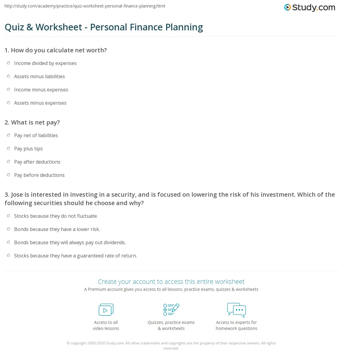 Quiz Worksheet Personal Finance Planning – Personal Financial Planning Worksheets