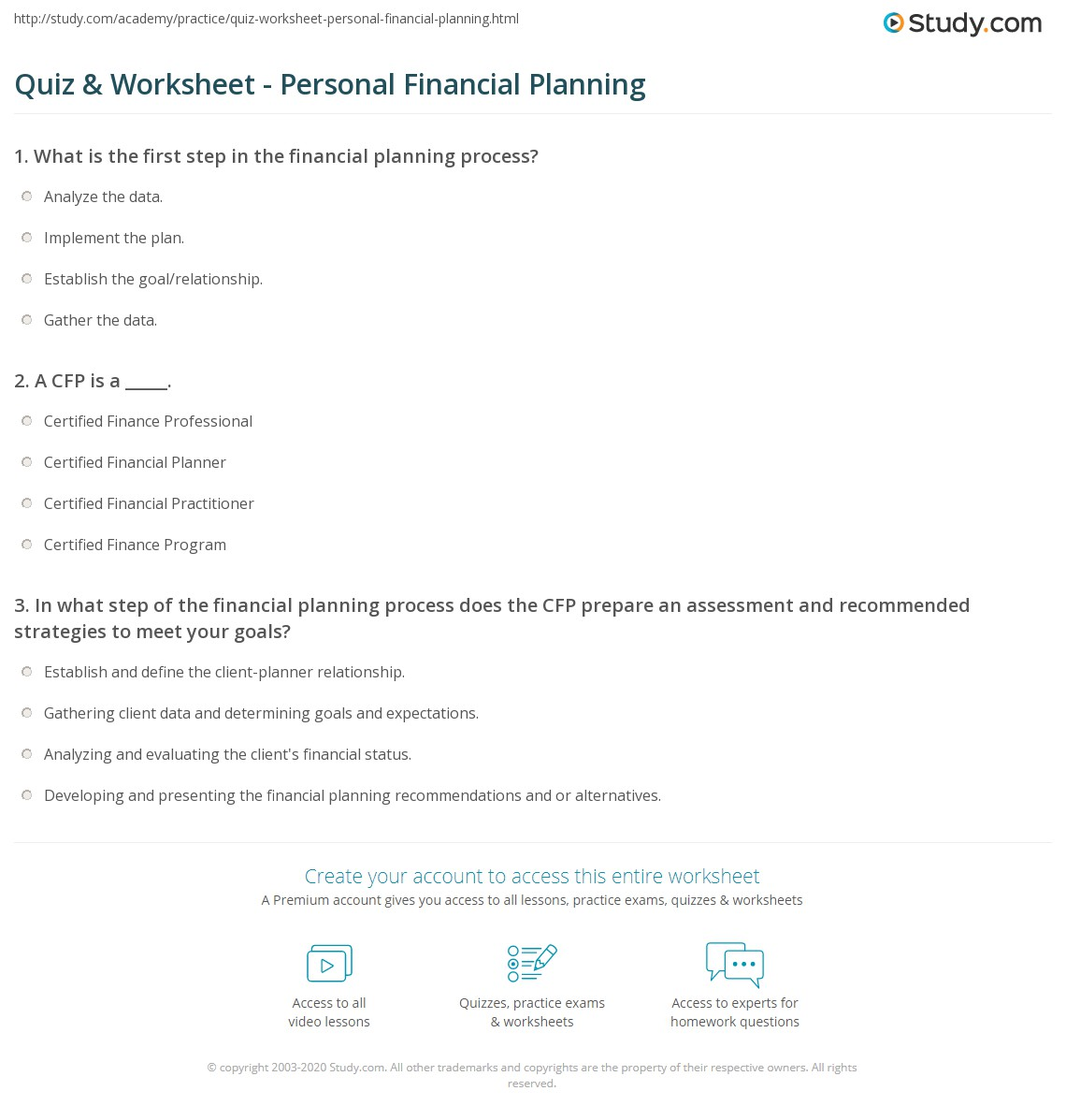 quiz worksheet personal financial planning study com