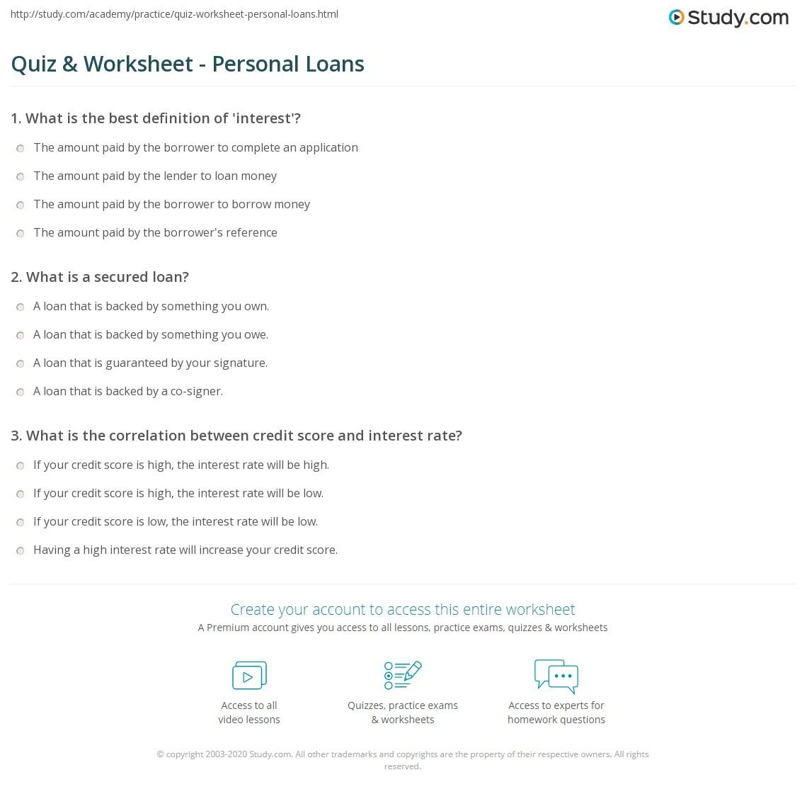 quiz & worksheet - personal loans | study